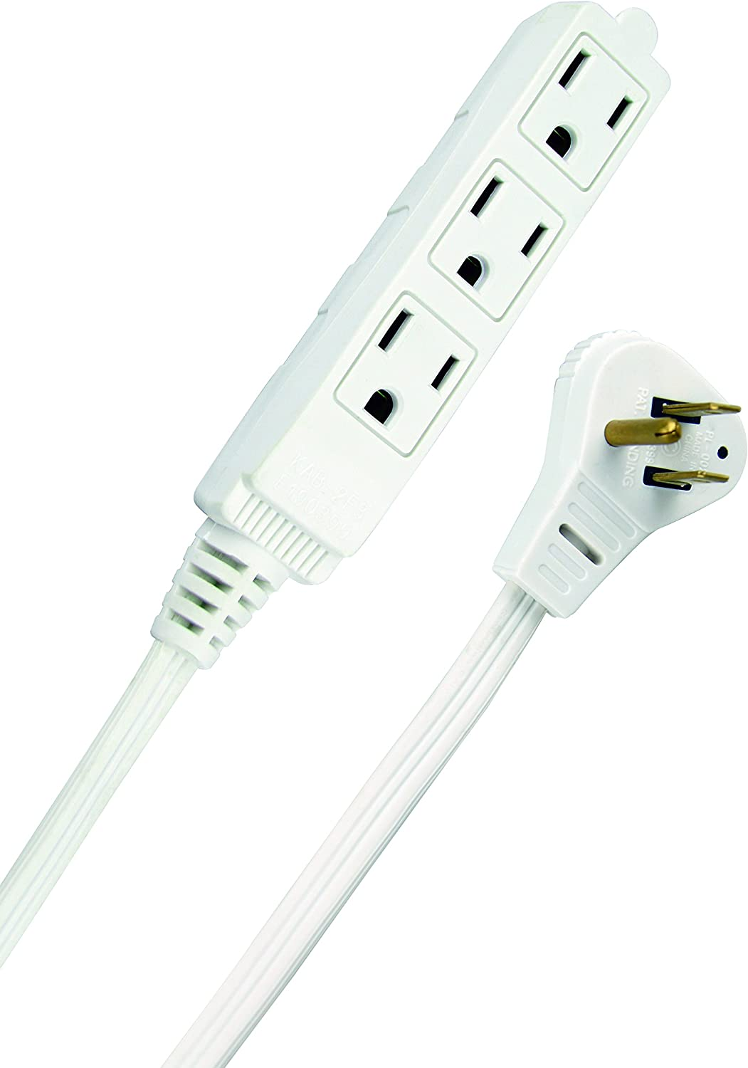 SlimLine 2232 Angled Flat Plug Extension Cord, Space Saving Flat Design, 3 Grounded Outlets, 13-Foot, 13 Amps, 1625 Watts, 125 Volts, UL Listed, I deal For Powering House Hold Appliances, Lamps and Clocks, Neutral White Color - -