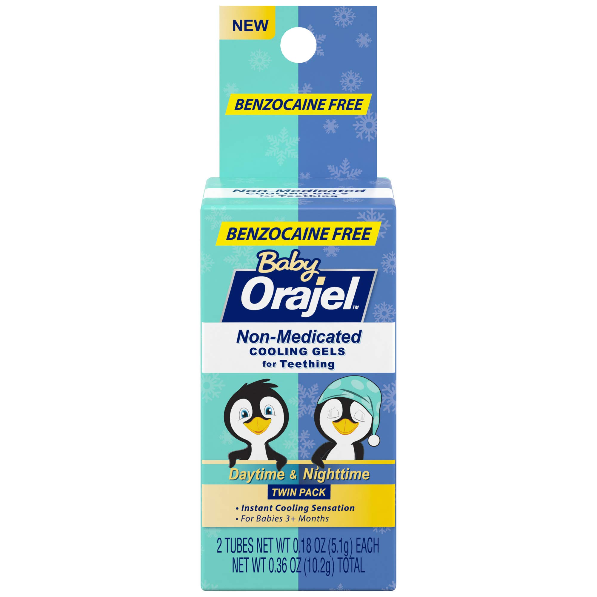 Orajel Baby Daytime & Nighttime Non-medicated Cooling Gels for Teething, 2 Tubes, 0.18 Oz Each