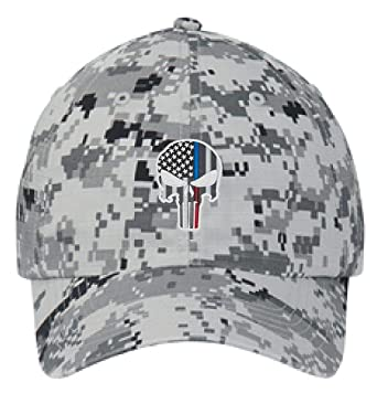 10b568dc Yellow Dog Embroidered Thin Blue RED Line Skull Subdued American Flag  Police Firefighter Digital Camo Baseball