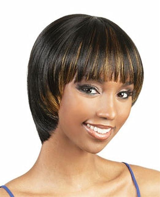 Las mujeres recta corta BOB Estilo Ombre peluca negra con Capas rubia peluca de pelo 0161