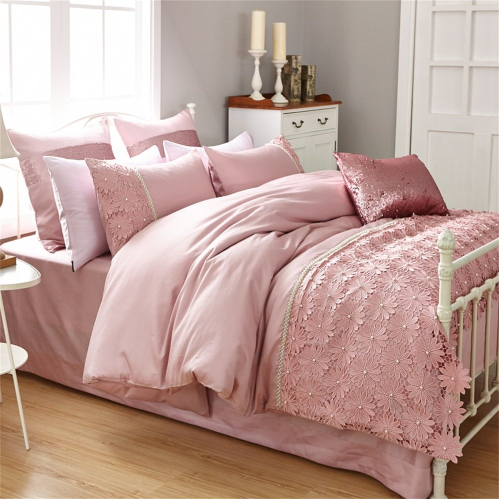 Brandream Home Textile Elegant Design Pastoral Style Floral Lace Princess Bedding Set Girly Ruffle Duvet Cover Fashion Exquisite Falbala 4pcs,Full Size