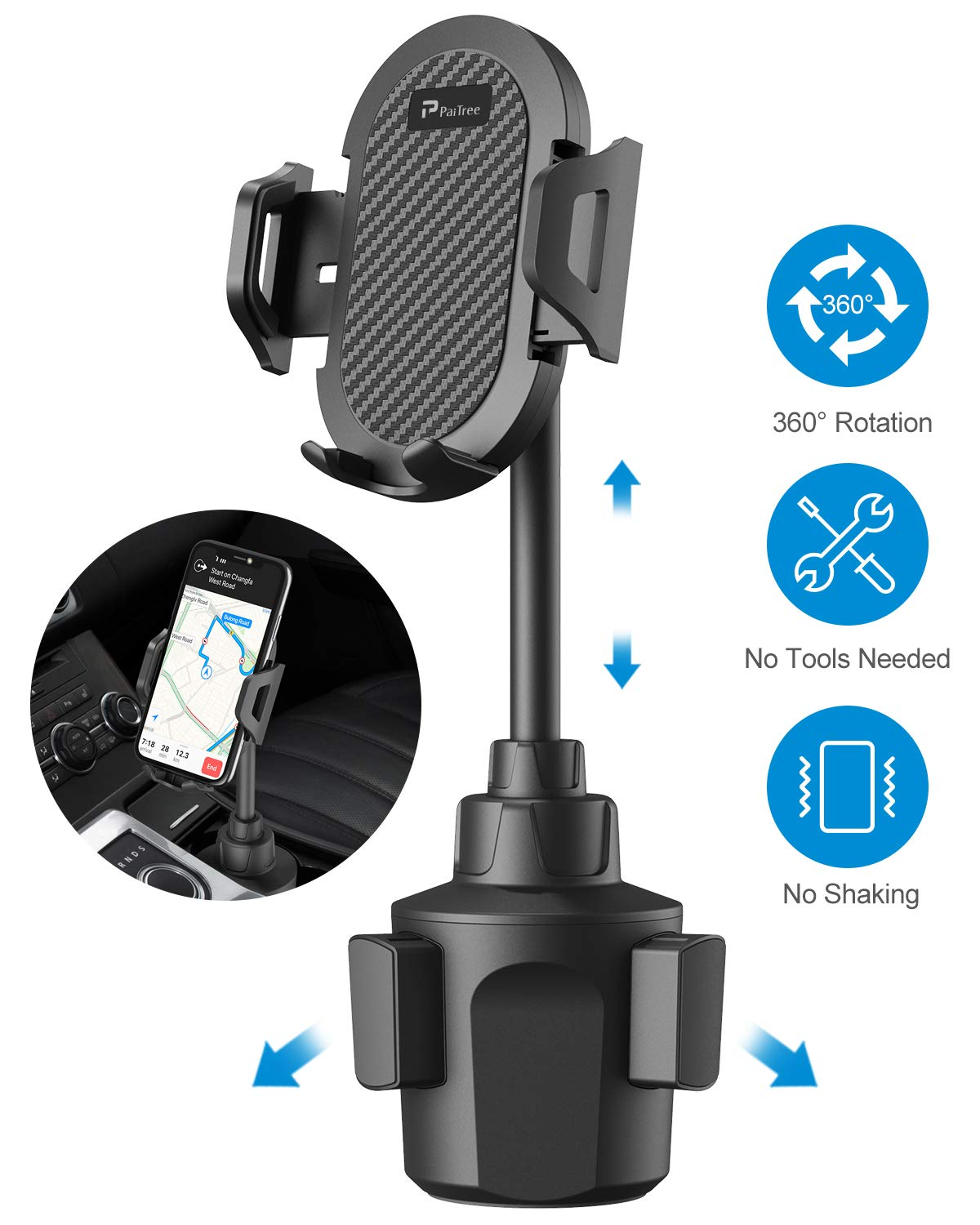 PaiTree Car Cup Holder Phone Mount, Ultra Stable