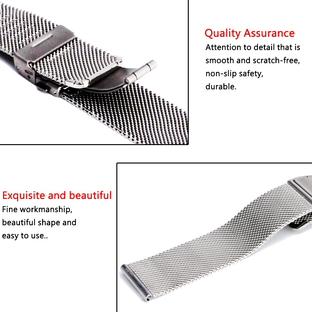 Amazon.com: [ZHUGE] Watch Straps - New style Double-Press Clasp Buckle Milanese Mesh Watch bands 18mm 20mm 22mm: Watches