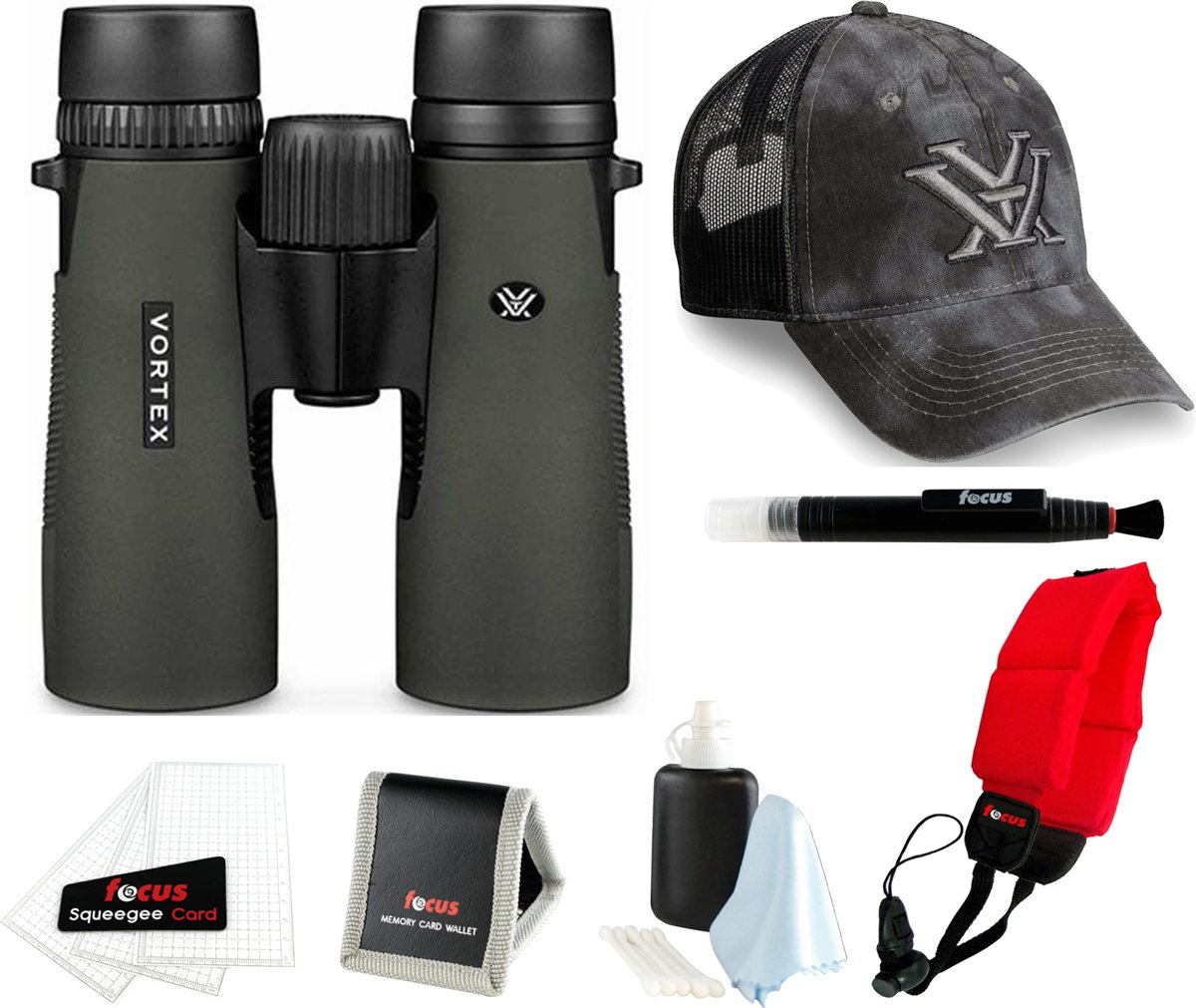 Vortex Diamondback 8x32 Binocular w/ Foam Float Strap & Accessory Bundle