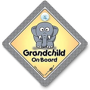 Amazon.com: Letrero de coche para nietos a bordo, elefante ...