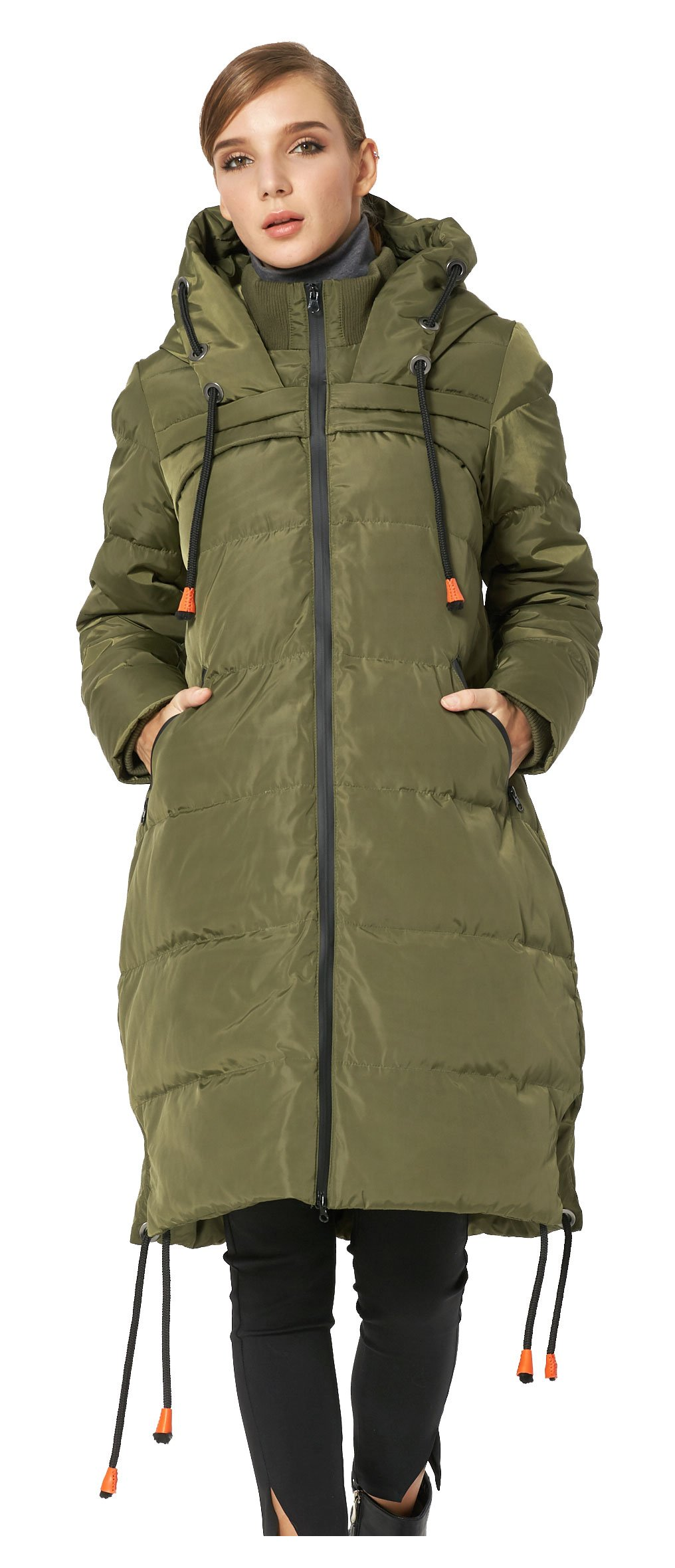 Orolay Women's Thickened Contrast Color Drawstring Down Jacket Hooded ArmyGreen S