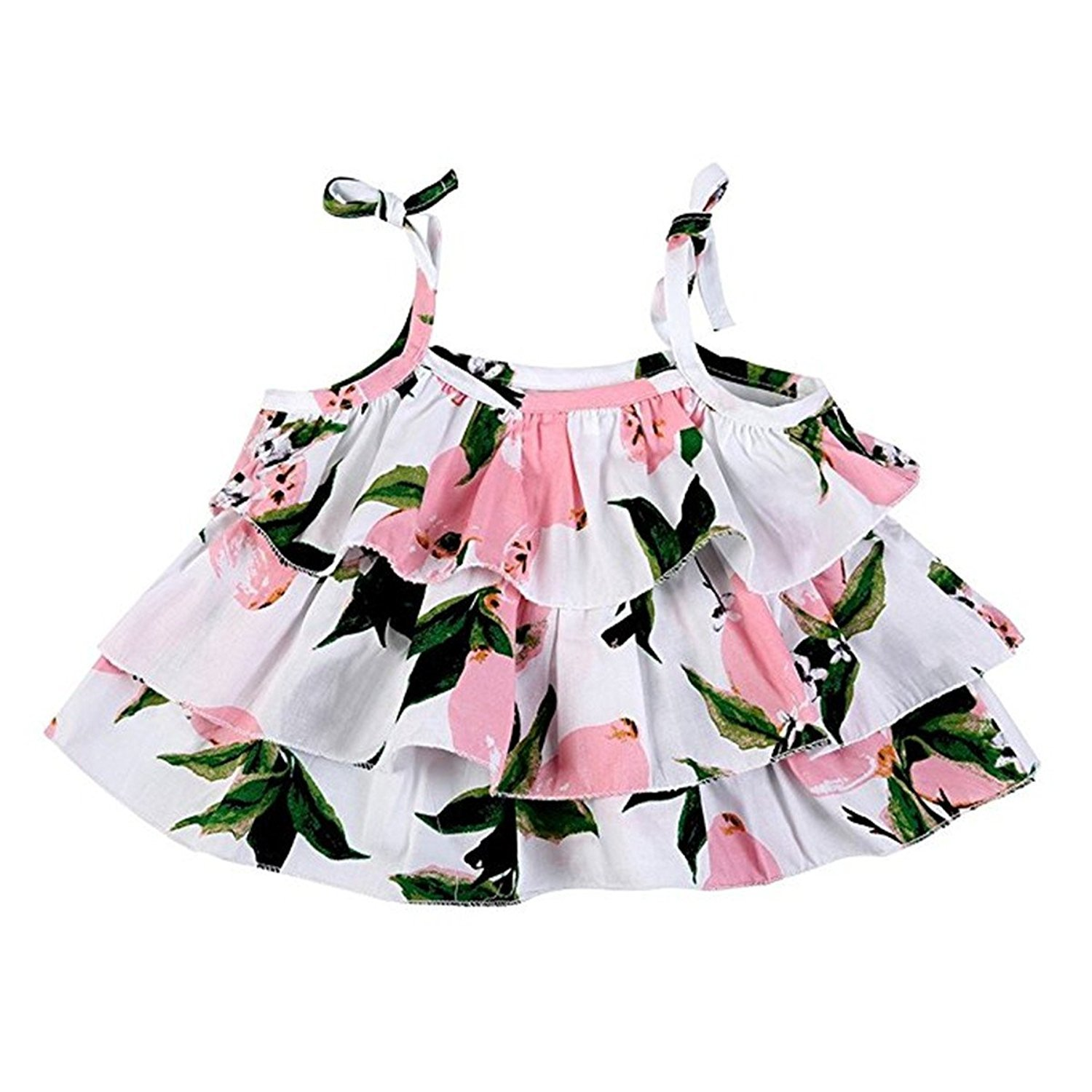 Jojobaby Little Girls 2 Pcs Floral Ruffled Vest Tops T-Shirts Shorts Outfits Set