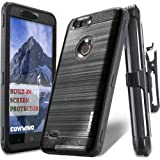 ZTE Blade Z Max Case, COVRWARE [IRON TANK] Built-in [Screen Protector] Heavy Duty Full-Body Holster Armor [Brushed Metal Texture] Case [Belt Clip][Kickstand] for ZTE Blade Z Max (Z982), Black