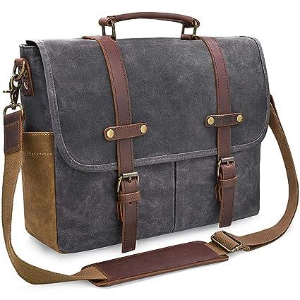 a46b67dab6 Mens Messenger Bag 15.6 Inch Waterproof Vintage Genuine Leather Waxed  Canvas Briefcase Large Satchel Shoulder Bag