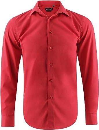 Camisa Slim fit Rojo para Hombre con Manga Larga: Amazon.es: Ropa y accesorios