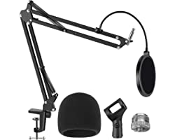 InnoGear Mic Stand for Blue Yeti, Heavy Duty Microphone Stand with Microphone Windscreen and Dual Layered Mic Pop Filter Susp