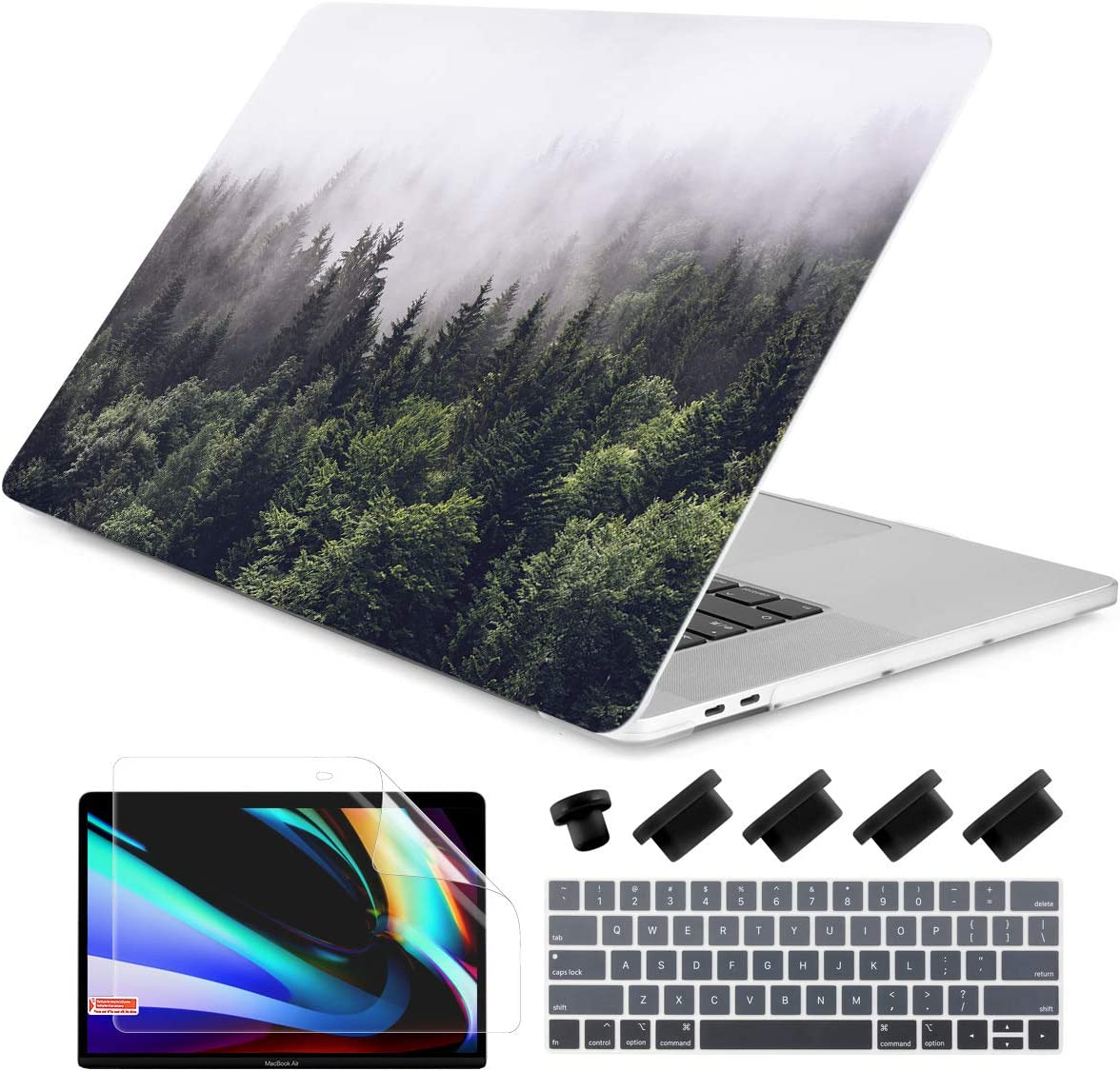 Dongke for MacBook Pro 13 Inch Case 2019 2018 2017 2016 Release A2159 A1989 A1706 A1708 with/Out Touch Bar Rubberized Frosted Matte Hard Shell Cover - Forest