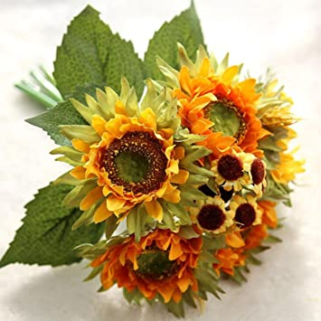 Amazon titcool pretty artificial flowers a bouquet 5 heads titcool pretty artificial flowers a bouquet 5 heads beauty fake sunflower artificial silk flower home mightylinksfo