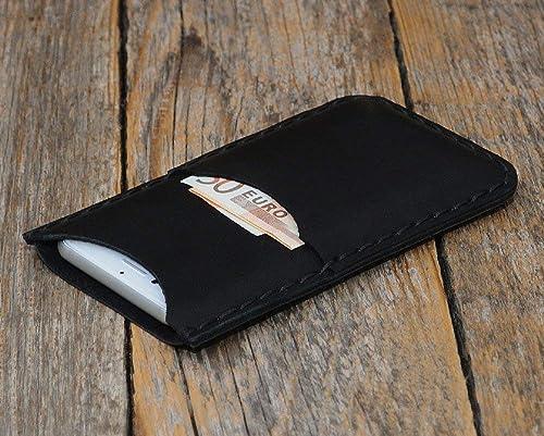 Negro estuche billetera funda de cuero para iPhone 11 Pro Max, XS Max, 8 Plus, 7 Plus con bolsillos para tarjetas de crédito. Estuche de manga. Cosido a mano.: Amazon.es: Handmade