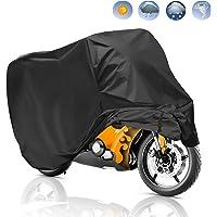 Housse de Protection pour Moto, Migimi Housse de moto Couvertures Imperméable en Polyester 190T pour Moto, Scooter protège de la pluie, soleil, poussière, Anti-UV, 245*105*125cm (Noir)