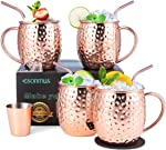 Moscow Mule Copper Mugs, esonmus Set of 4 Handcrafted Copper Mugs