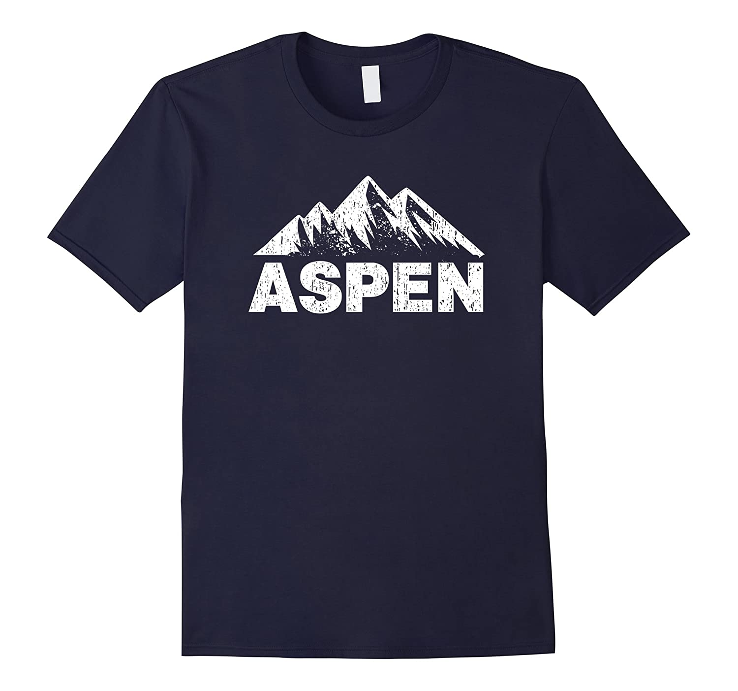 Aspen Colorado With Mountains Distressed Home T-Shirt-CD