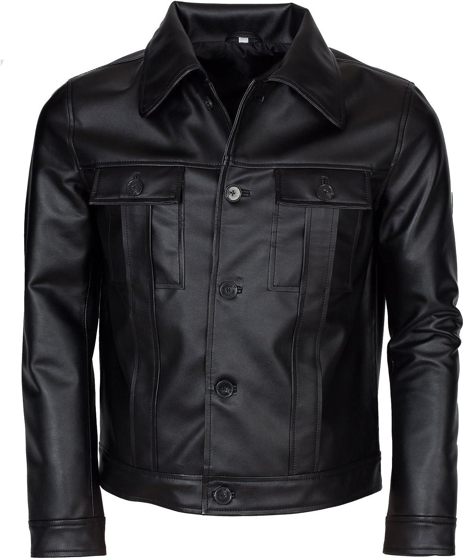 Elvis Presley Inspired Mens Black Real Leather Jacket Costume