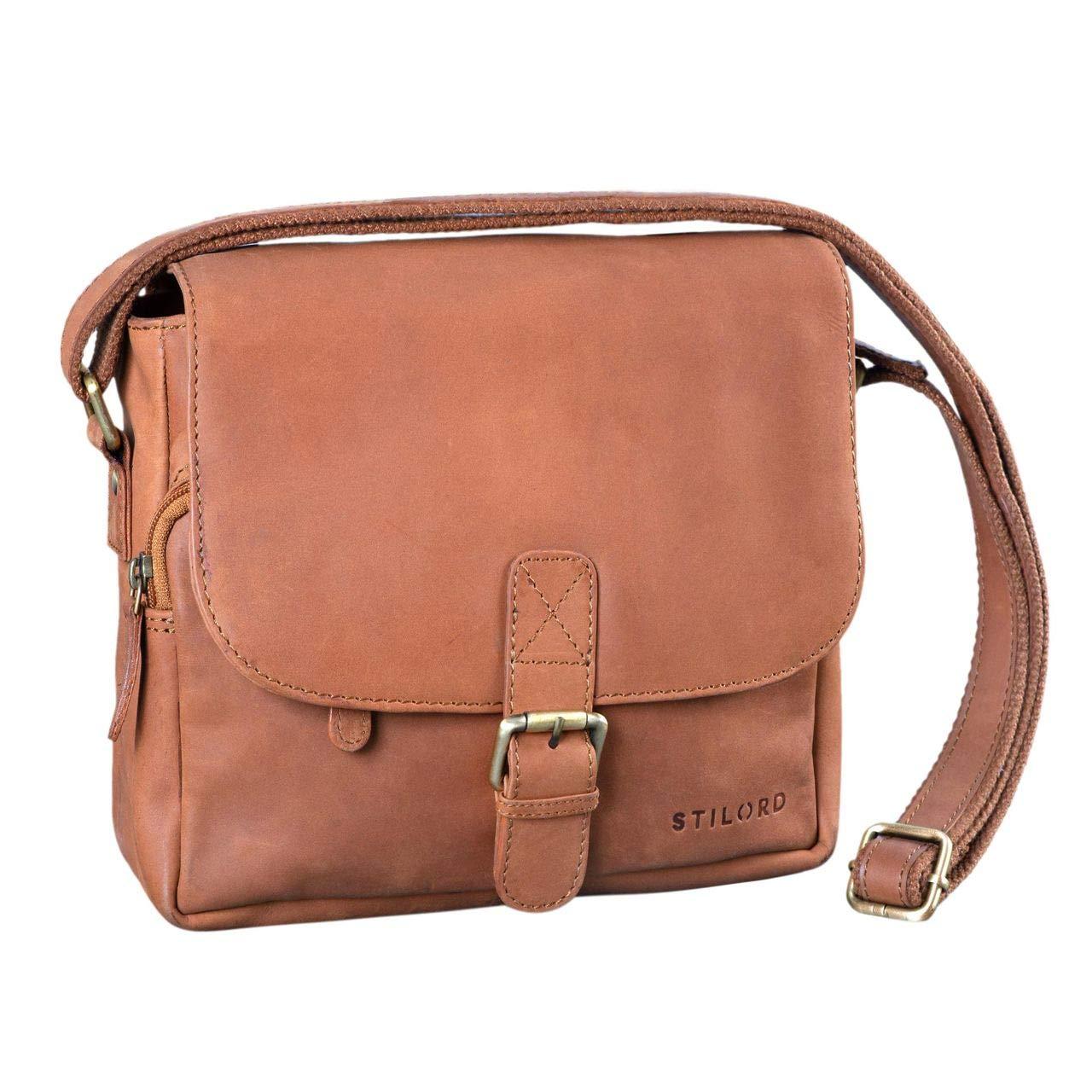 b59393ef0fa0d STILORD  Lucian  Vintage Umhängetasche Leder klein für Herren und Damen  braune Schultertasche für 10.1 Zoll Tablet iPad DIN A5 Handtasche aus  echtem Leder