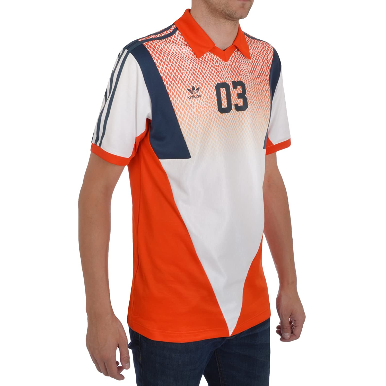 Amazon.com  adidas Originals Mens Football Jersey V Neck Top Orange   Clothing 631c3275a