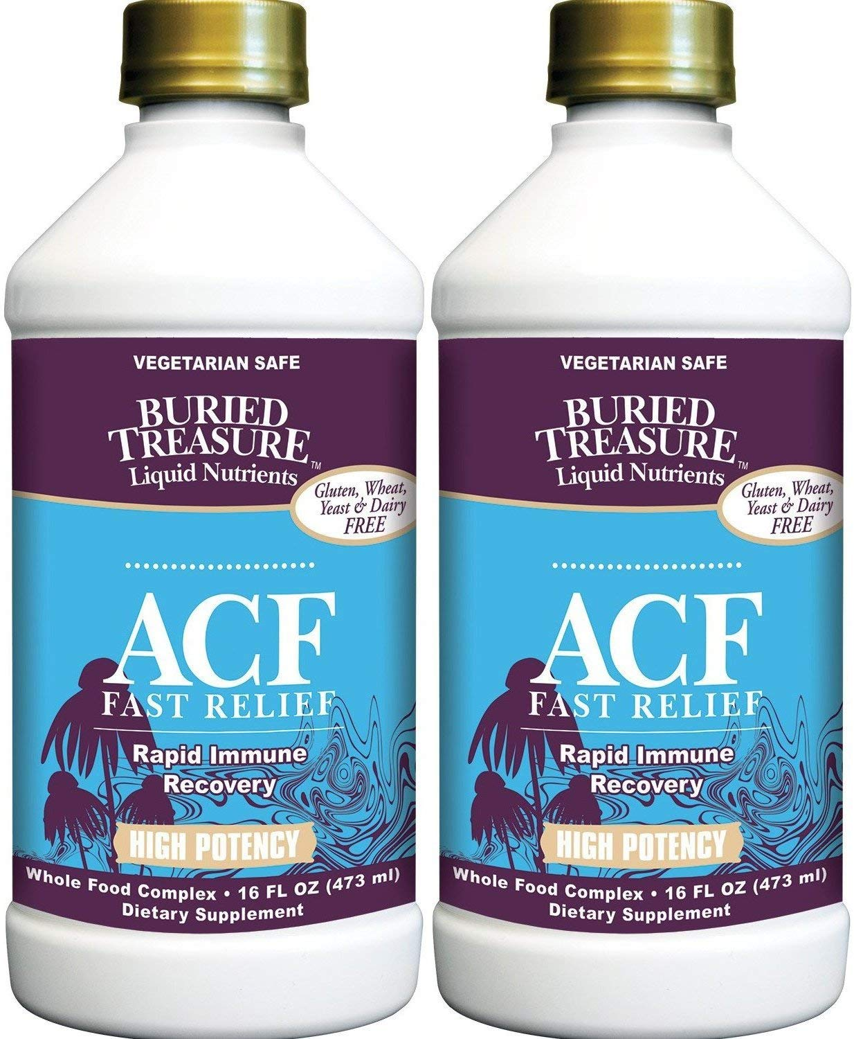 Liquid Nutrients ACF Fast Relief Rapid Immune Recovery (Pack of 2), Vegetarian Safe, Whole Food Complex, 16 fl oz by Natural Beauty Planet