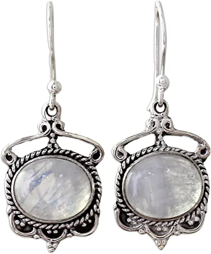Round Moonstone with Circle Accents 925 Sterling Silver Dangle Earrings
