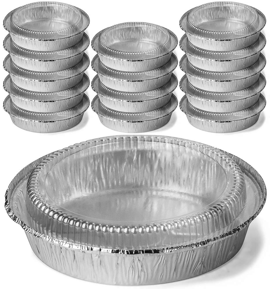 DecorRack Round 9 Inch Aluminum Pans with Dome Lid, Heavy Duty Tin Foil Pans, Perfect for Reheating, Baking, Roasting, Meal Prep, to-Go Containers, Environmentally Friendly (Pack of 14)