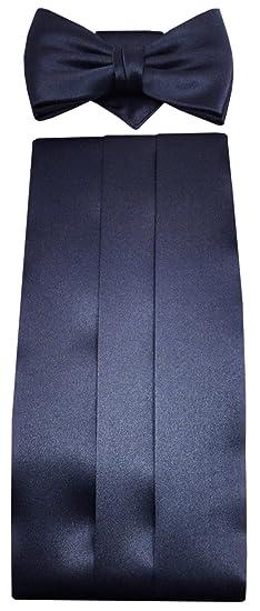 TigerTie - faja + pañuelo + pajarita de seda en azul oscuro marina ...