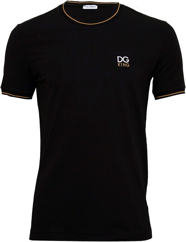 Dolce & Gabbana Bordado Dg King Logo Camiseta De Hombre, Negro/Oro Pequeño: Amazon.es: Ropa y accesorios