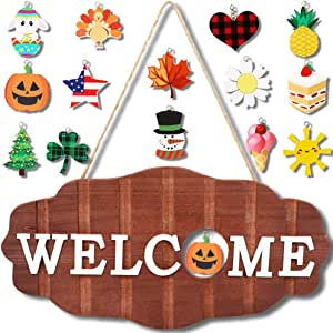 OurWarm Interchangeable Seasonal Welcome Sign Front Door Decor, Rustic Wood Wall Hanging Porch Decorations for Home, Halloween, Fall, Christmas, Valentines, Easter, Front Porch Decor 12 x 6 inch