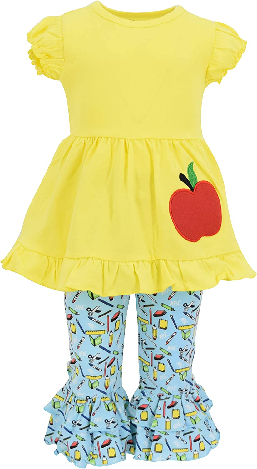 Unique Baby Girls Back to School Apple Embroidered 2 Piece Outfit