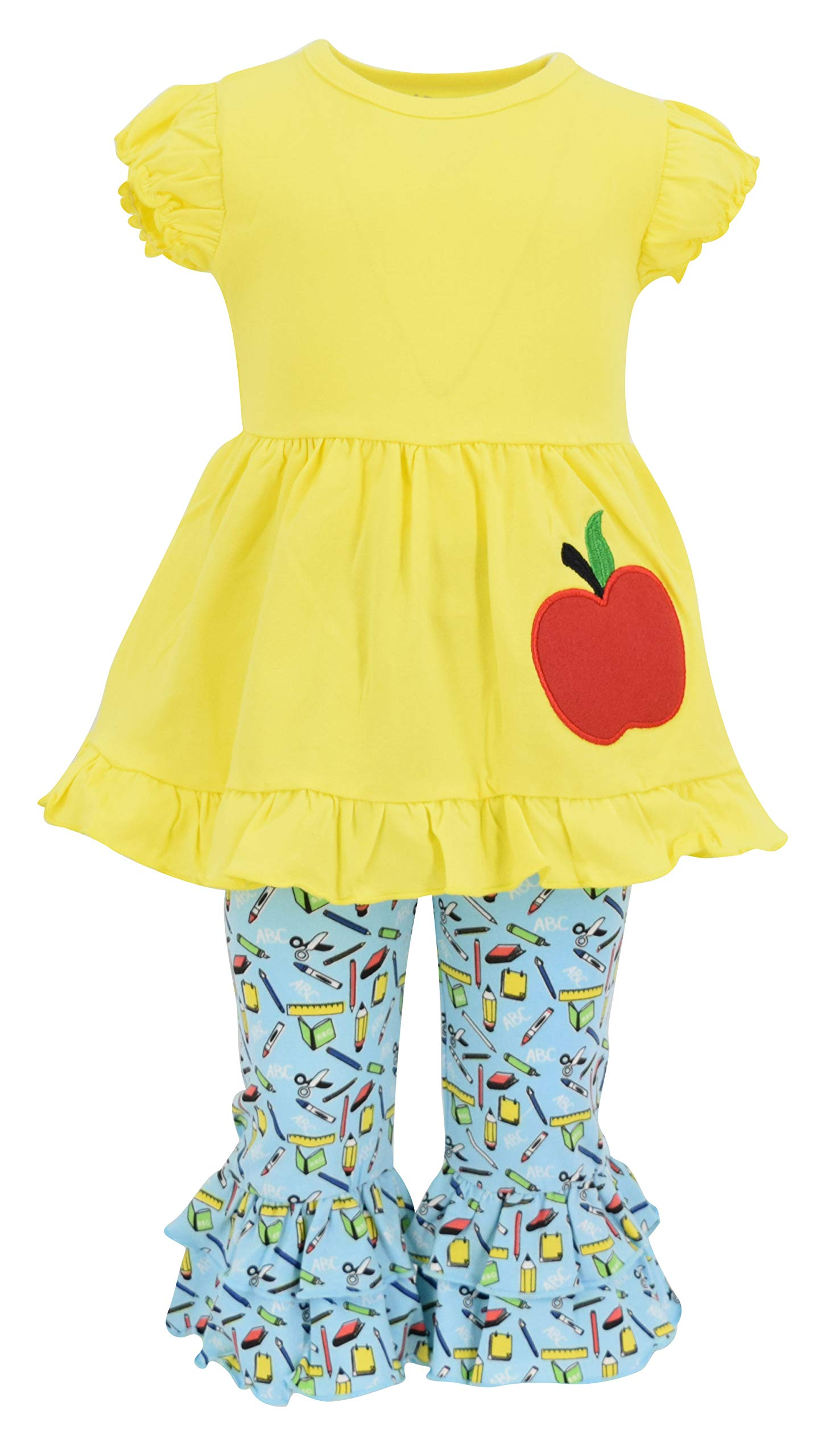 Unique Baby Girls Back to School Apple Embroidered 2 Piece Outfit (6) Yellow