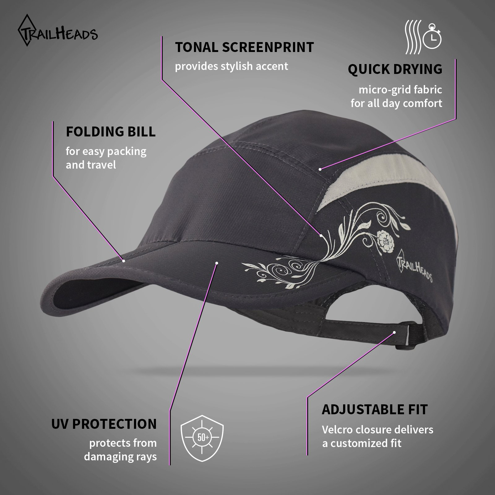 TrailHeads Lightweight Travel Hat | Summer Running Cap for Women | Folding Hat with UV Protection - Medium/Large by TrailHeads (Image #2)