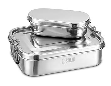 Fiambrera de acero inoxidable de GoSolid, 1 compartimento, 750 ml, metal cepillado | Caja de almuerzo | fiambrera | Caja Bento: Amazon.es: Hogar