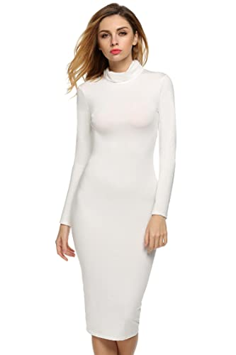 Zeagoo Women's Sexy Turtleneck Long Sleeve Stretchy Bodycon Bandage Midi Dress