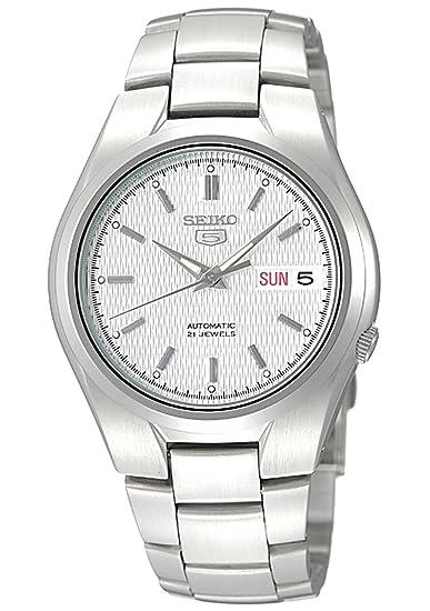 Seiko SNK601K - Reloj analógico automático para hombre con correa de acero inoxidable, color plateado: Seiko: Amazon.es: Relojes