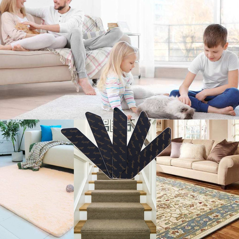 Rug Grippers Keeps Your Rug in Place Carpet Grips Flatten Corner Curling - Adorbay Carpet Corner Gripper Slip Grip Reusable Grippers 10 pcs (Black) by Adorbay (Image #7)