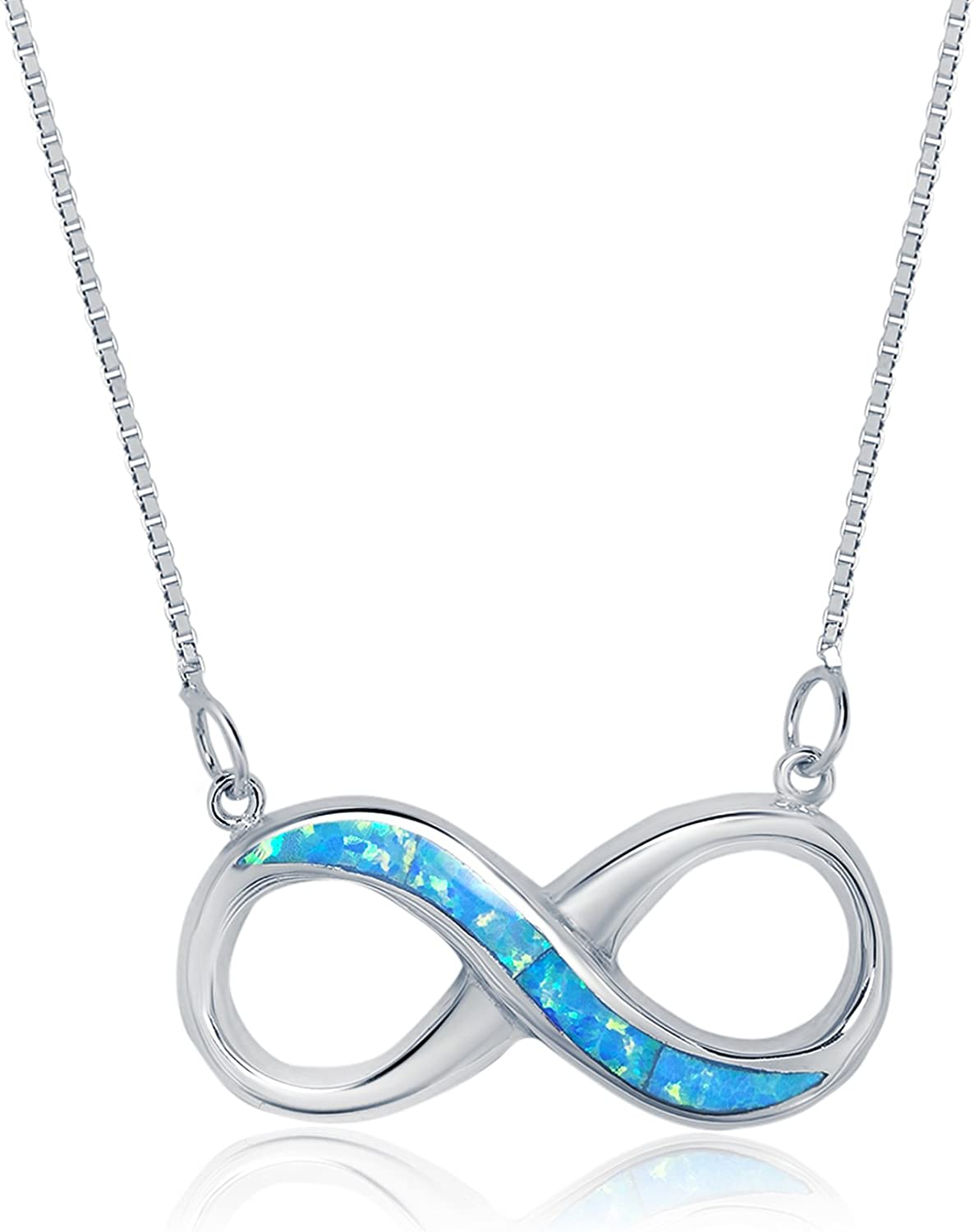 Sterling Silver Created Blue Opal Infinity Necklace