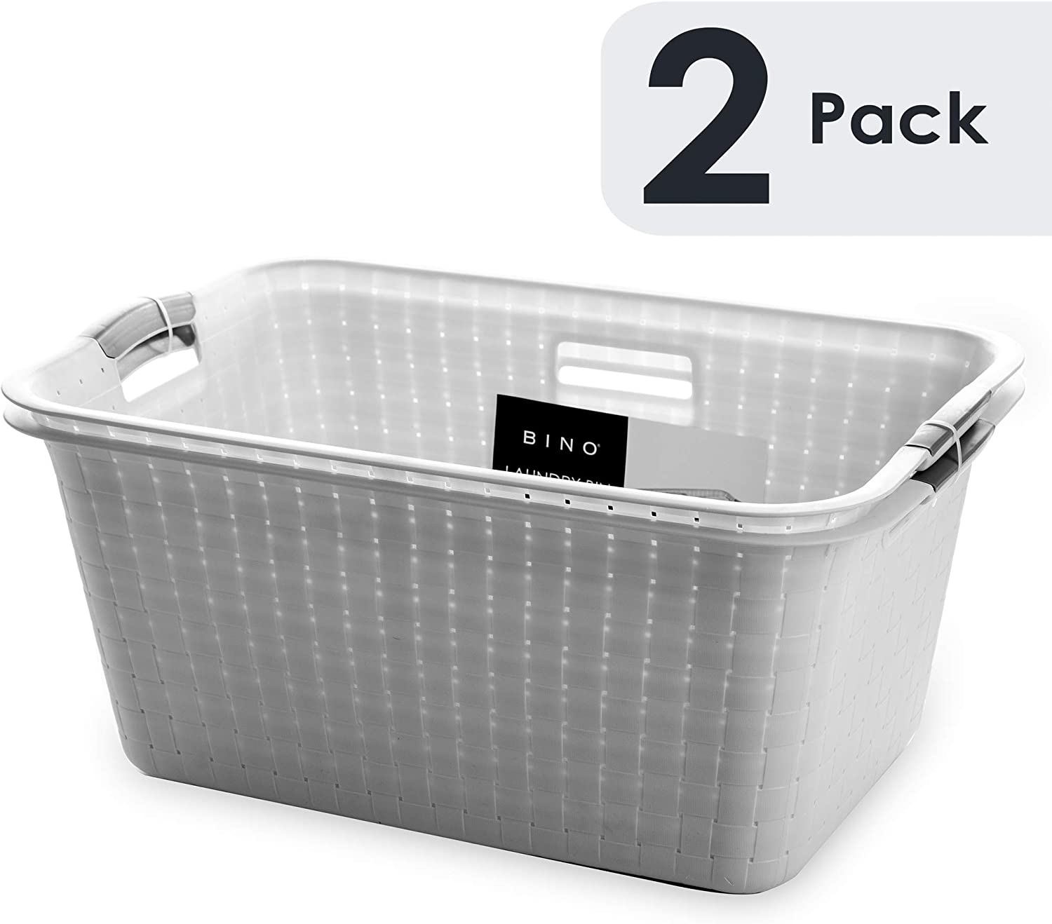 BINO Woven Plastic Laundry Hamper Storage Basket, Light Grey(2 pack)