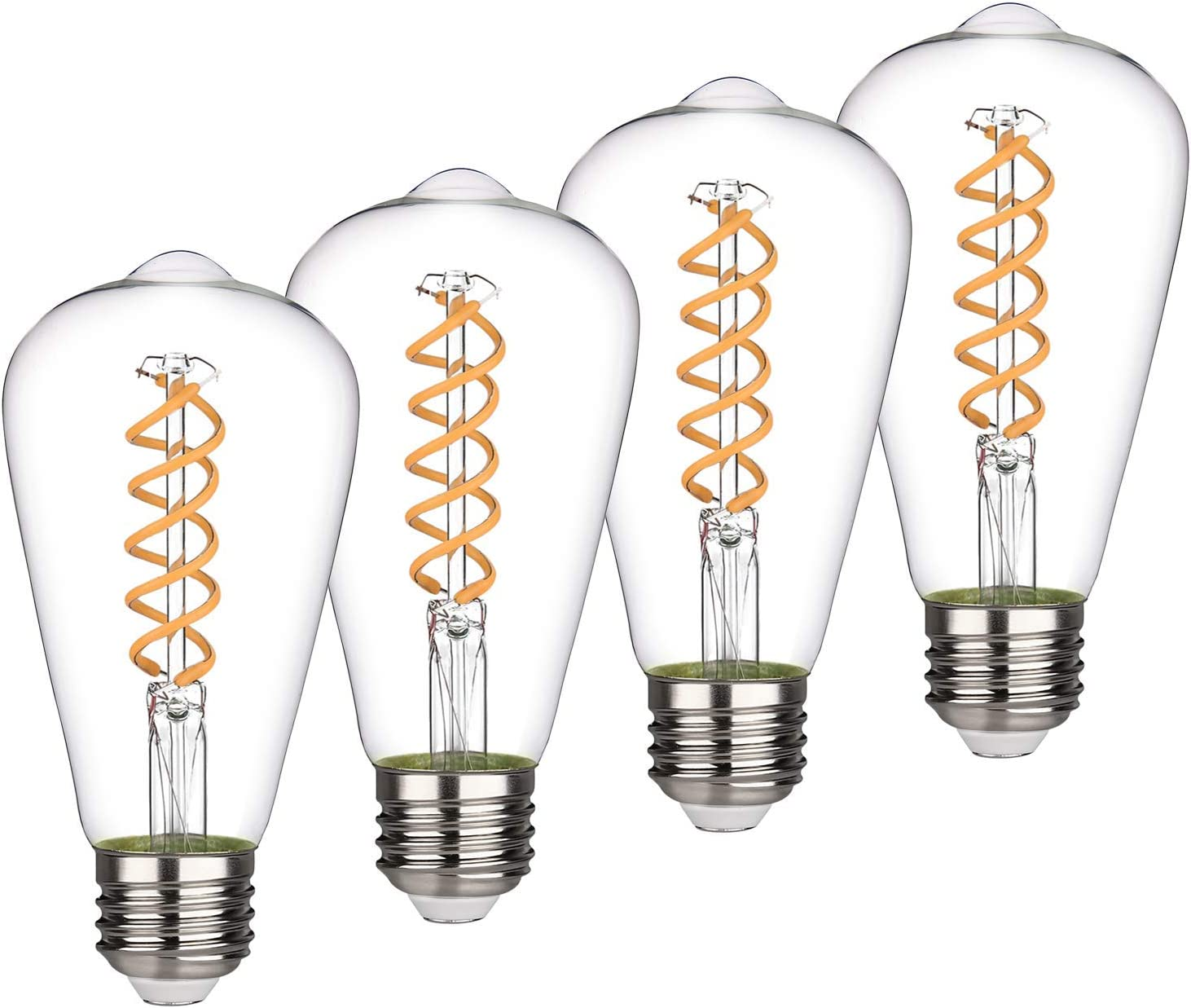 ST19(ST64) 8W Vintage Edison LED Bulb, Soft White 2700K, Antique Flexible Spiral LED Filament Light Bulb,800Lm Dimmable, 8W Equivalent to 80W, E26 Base,Clear Glass (8W-2700K-4 Pack)