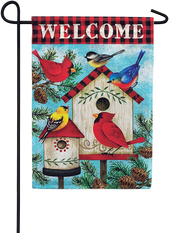 Custom Decor Winter Birds Welcome - Garden Size, Decorative Double Sided, Licensed and Copyrighted Flag - Printed in The USA Inc. - 12 Inch X 18 Inch Approx. Size