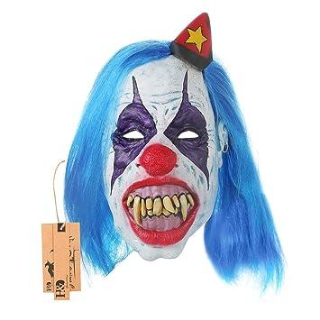 Scary máscara de payaso con pelo azul para Halloween decoración espeluznante máscara de látex para adultos