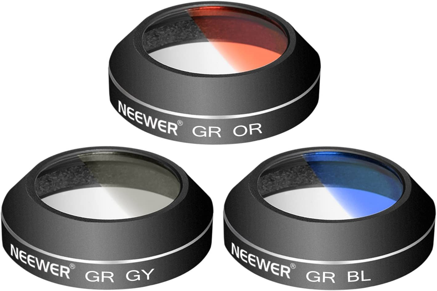 Grey, Orange, Blue Made of Aluminum Alloy and Resin Neewer 3 Pieces Graduated Color Filter Set for DJI Mavic Pro Drone Quadcopter