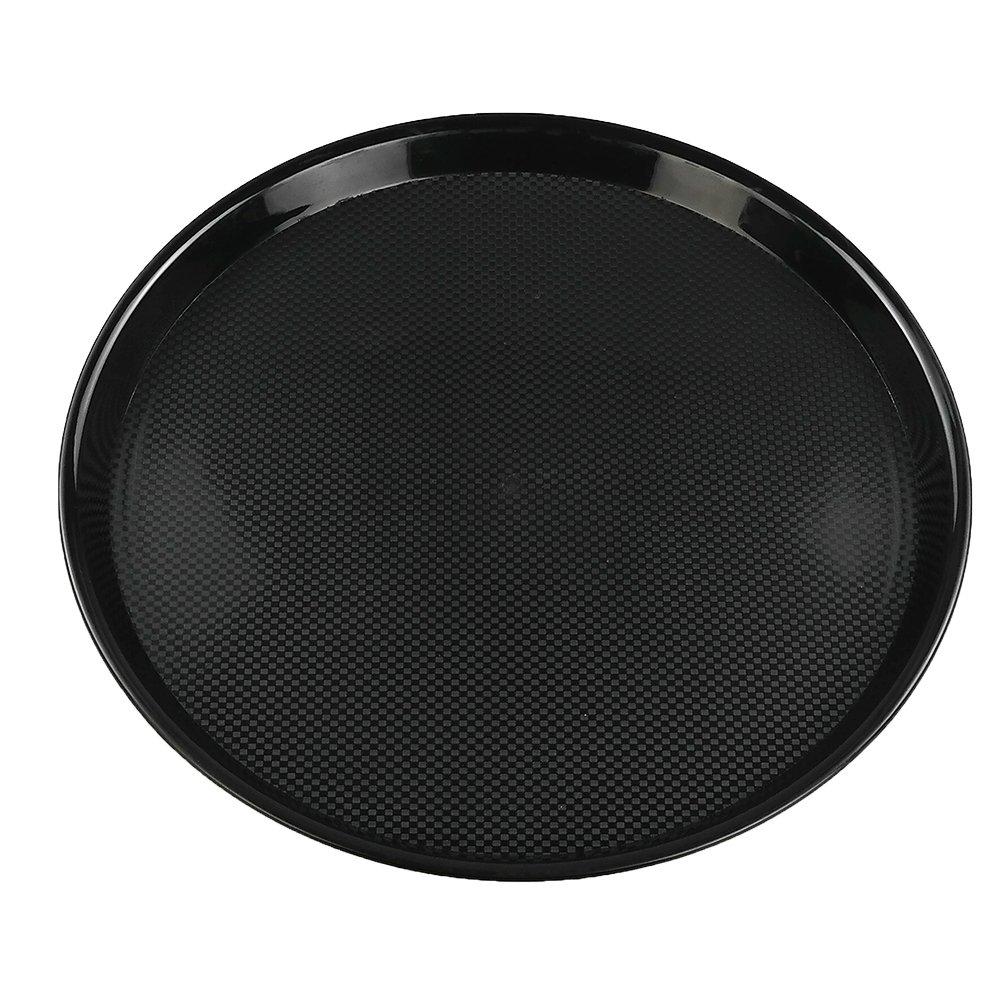 Ramddy Black Plastic Food Service Trays, Round, Set of 4