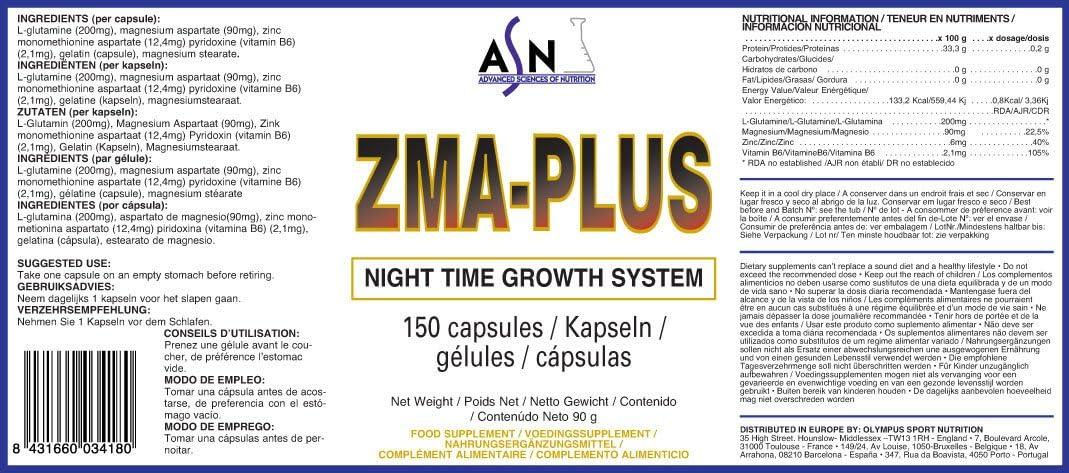 ASN ZMA-PLUS - 600mg - 150 cáps.