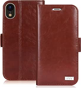 """FYY iPhone Xr Case, iPhone Xr Cover Hamdmade Flip Folio PU Leather Case iPhone Xr Wallet Case with Wrist Strap Kickstand Card Slots Magnetic Closure Phone Case for Apple iPhone Xr 6.1"""" Brown"""