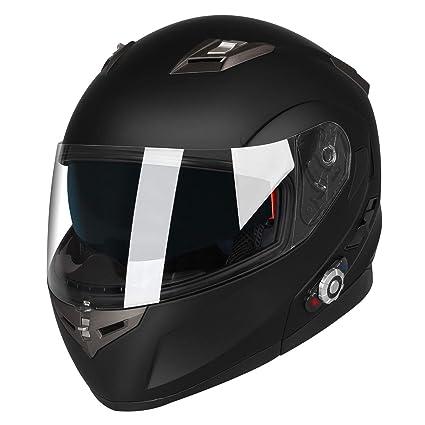 MTSBW Cascos Bluetooth para Motocicletas Levantar Visores Dobles Casco Integral Rango 500M, 2-3Riders