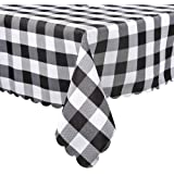 DESNC02 Square Tablecloth, Black & White Check Plaid in Washable Polyester, Great for Kitchen Dinner Buffet Table, Parties, Holiday Dinner & More, 36 x 36 Inch(90x90cm)