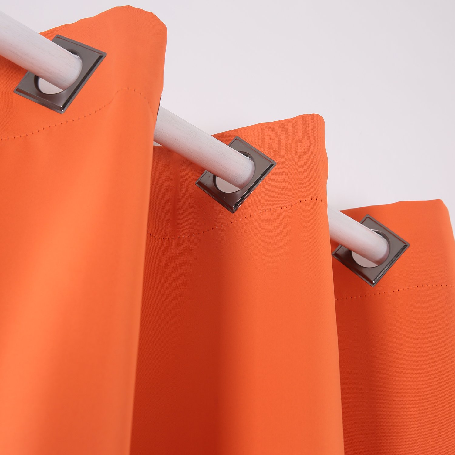 Deconovo Solid Blackout Curtains with Grommet Thermal Inshualted Window Curtains Room Darkening Curtains Orange