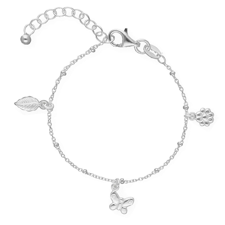 Butterfly Baby Armband Echt Silber Schmetterling Blume Blatt Lä